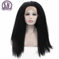 Msiwigs طويلة ياكي مستقيم الرباط الجبهة الباروكات للنساء السود مضفر تطور الشعر جديلة لمة مقاومة للحرارة الاصطناعية الأفرو