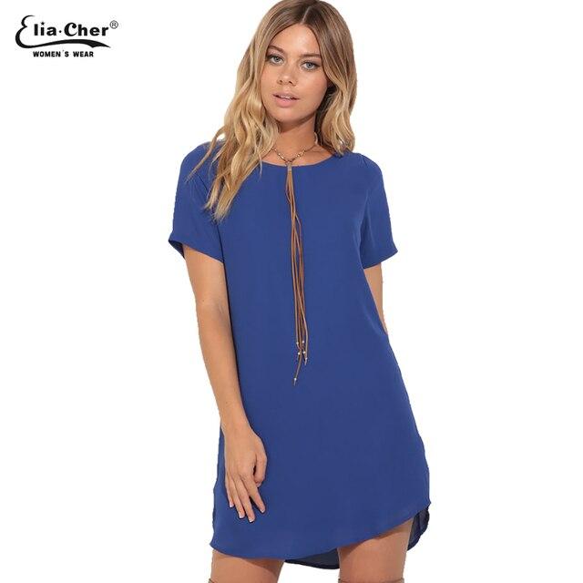 ea84a49007f Vestido de verano para mujer vestido de marca Eliacher talla grande Casual  ropa femenina vestidos sólidos