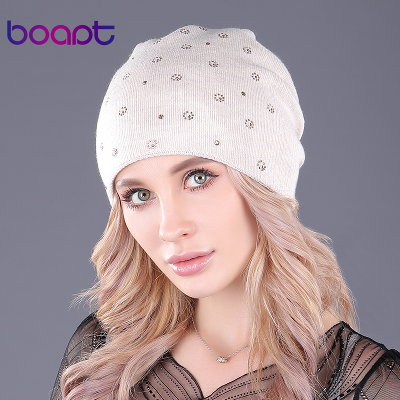 [boapt] Double-deck Cashmere Folds Knitting Hats For Girls Caps Women's Hat Warm Winter Beanie Thick Female Skullies Beanies Cap