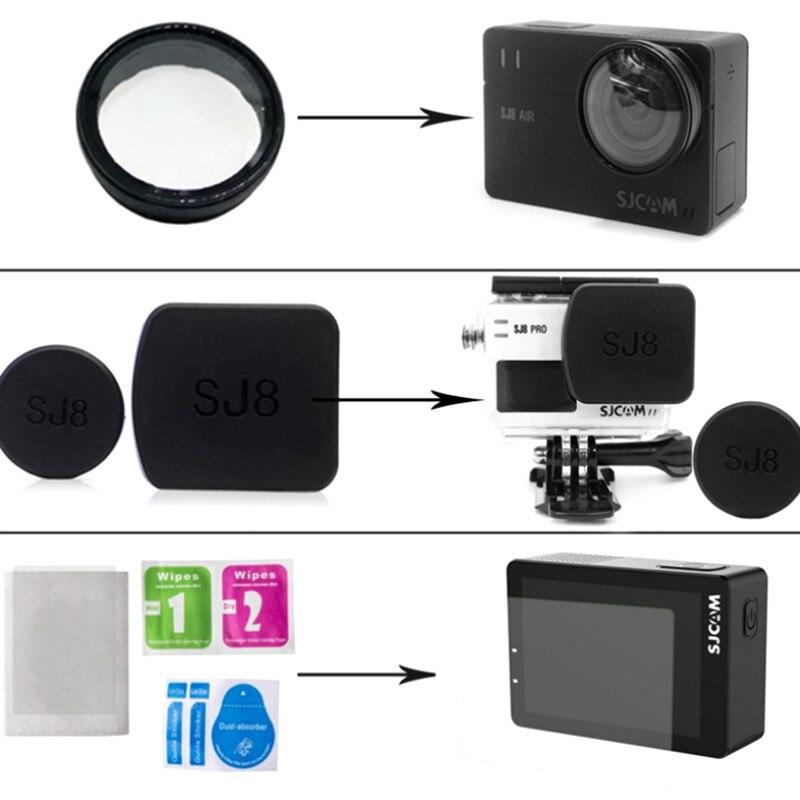 For SJ8Pro/Plus/Air UV Filter Camera Lens Cap Waterproof Housing Case Hood Tempered Glass Screen Protective Film SJ8 Accessories
