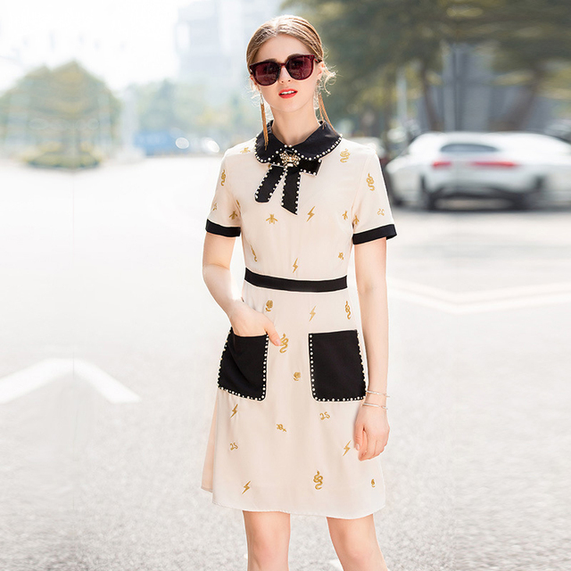 2019 Spring Pretty Embroidery Beading Dress New Arrival Hot Short Sleeve Turn-down Collar Above Knee Mini Slim Luxury Dress