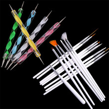 DIY 15pcs White Handle Fingernail Art Manicures Fashion Design Painting Drawing Brushes+5pcs Double-End Dotting Pen Tools Set