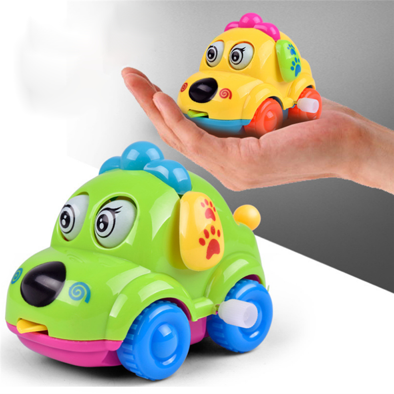 High Quality Baby Kids Clockwork Funny Toy Cartoon Puppy Clockwork Car Educational Toys MultiColor Animal Toy Car Drop Shipping