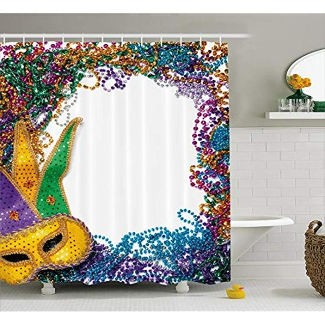 Vixm Mardi Gras Shower Curtain Colorful Framework With Vibrant Beads And Mask Fat Tuesday Holiday Theme Fabric Bath Curtains