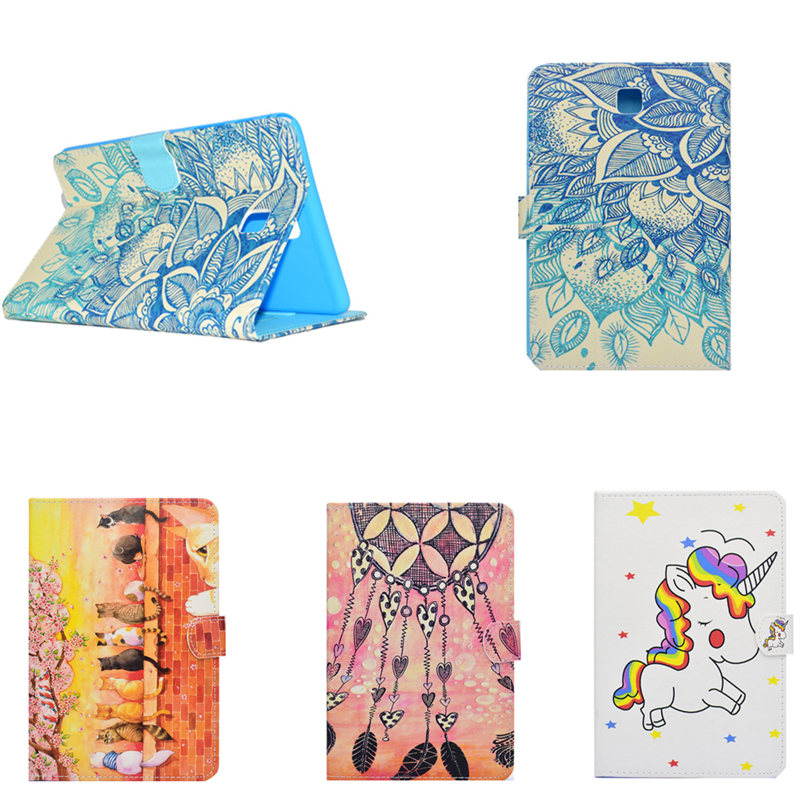 Fashion Painted Flip PU Leather Case For Samsung Galaxy Tab A 8.0 inch T350 T355 P350 P355 t355c p355c Tablet Cute Case Cover luxury tablet case cover for samsung galaxy tab a 8 0 t350 t355 sm t355 pu leather flip case wallet card stand cover with holder