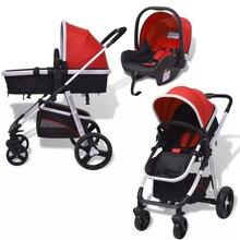 VidaXL 3-In-1 Baby Stroller Pushchair Aluminium Red And Blac