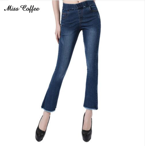 Miss Coffee 2018 Autumn High Waist Flare Jeans Pants Plus Size Stretch Skinny Jeans Women Wide Leg Slim Hip Denim Boot Cuts