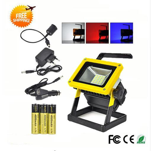 ФОТО Waterproof LED Floodlight IP65 30W Rechargeable 24LED Flood Light SpotLights Red/White/Blue Light For Outdoor Camping Work Light