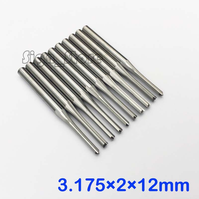 10db kettős fuvola egyenes nyílású keményfém marók CNC útválasztó bit 3.175 * 2 * 12mm