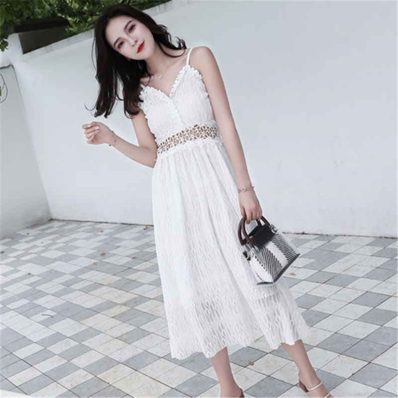 9ac862ec37bb 2018 new summer women's dress fashion super Hot fire lace sling vest Hollow  Out dress sexy white black party lady's long dress-in Dresses from Women's  ...