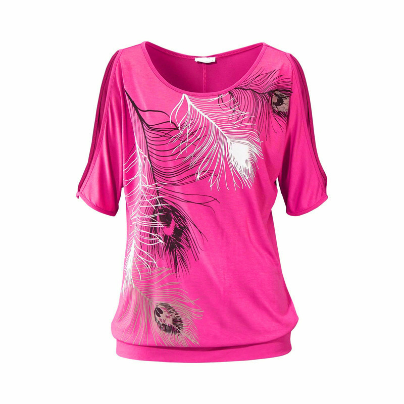 Slit Sleeve Cold Shoulder Feather Print Women Casual Summer T Shirt 2