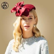 цена на FS Womens Fascinators Hats Wool Felt Fedora Hat British Black Bow Red Pillbox Lady Wedding Hats For Church Fedora Chapeau Femme
