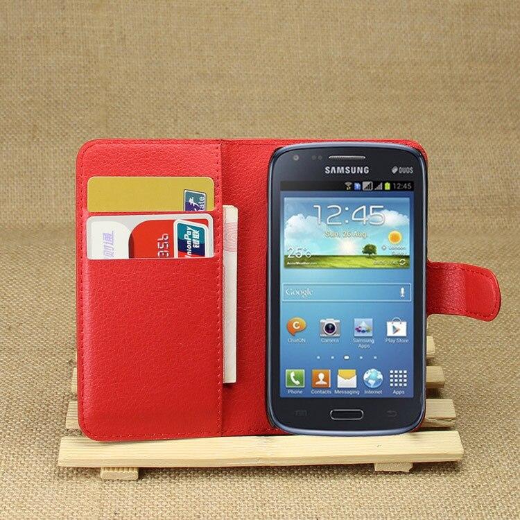 Galleria fotografica Haute Qualité De Luxe En Cuir Flip Cas pour Samsung Galaxy Core I8260 I8262 8262 <font><b>Smartphone</b></font> Portefeuille Couverture de Stand Avec Porte-Cartes