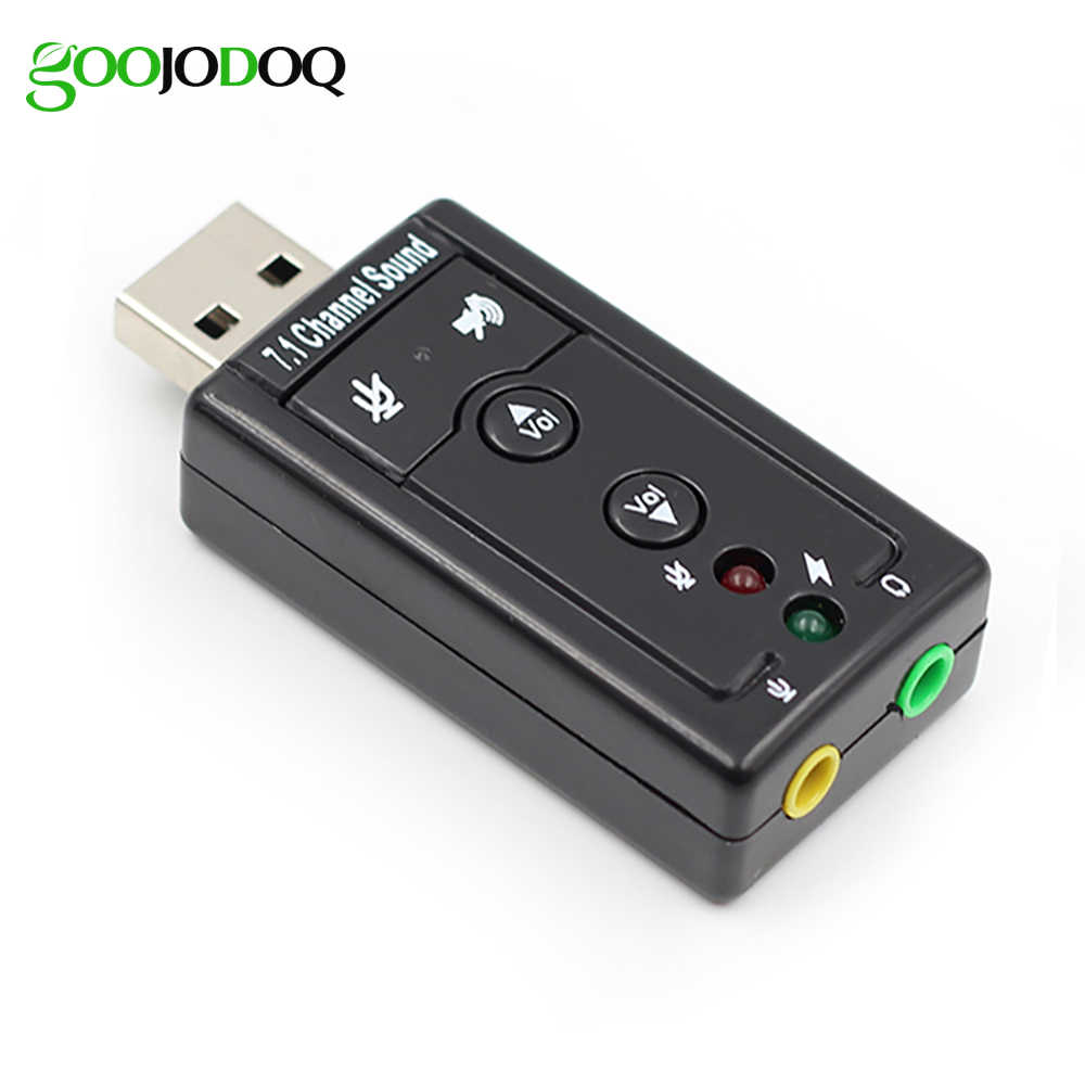 7.1 External USB Sound Card USB Ke Jack Headphone 3.5 Mm Audio Adapter Micphone Kartu Suara untuk Mac Menang Compter android Linux
