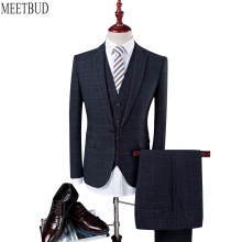 MEETBUD New arrival brand men suit for wedding slim fit party host prom man dark blue suits business casual dress suits 3 pieces
