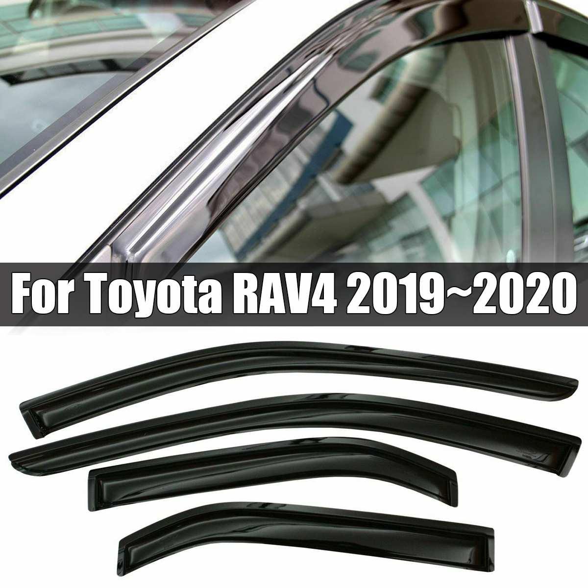 Déflecteur de pare-brise de fenêtre 4 pièces/ensemble garnitures chromées déflecteurs d'ombre de soleil d'évent pour Toyota RAV4 2019 ~ 2020