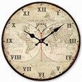 Антикварные часы  тихая карта мира  дизайн парусника  часы  домашний декор для офиса  кухни  большие художественные настенные часы  не тикают...