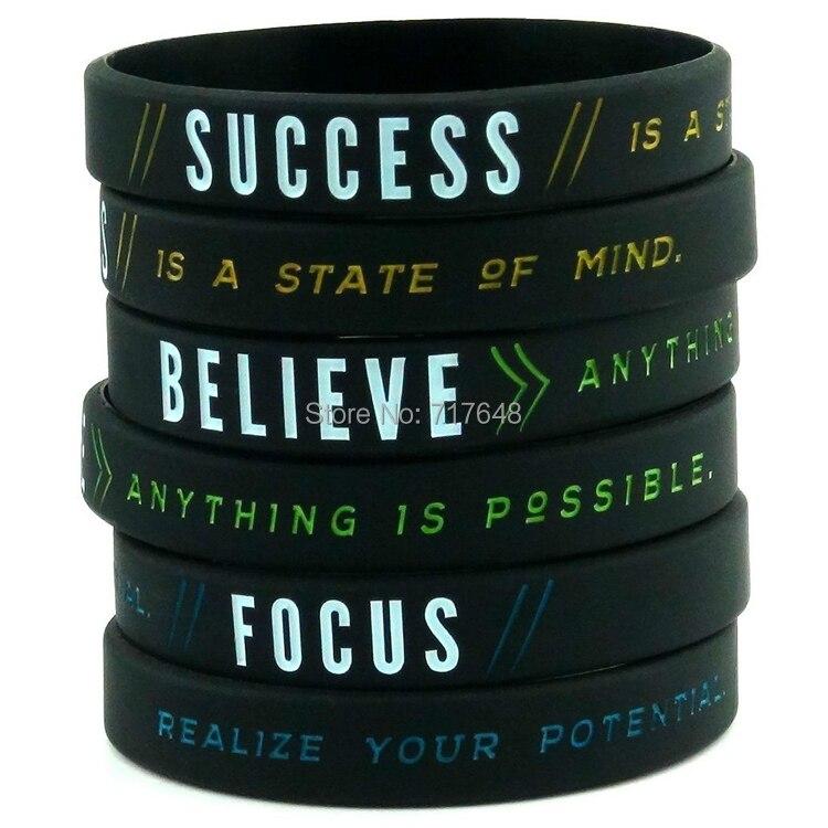 1 St Succes, Focus, & Geloof Motivatie Polsband Silicone Armbanden