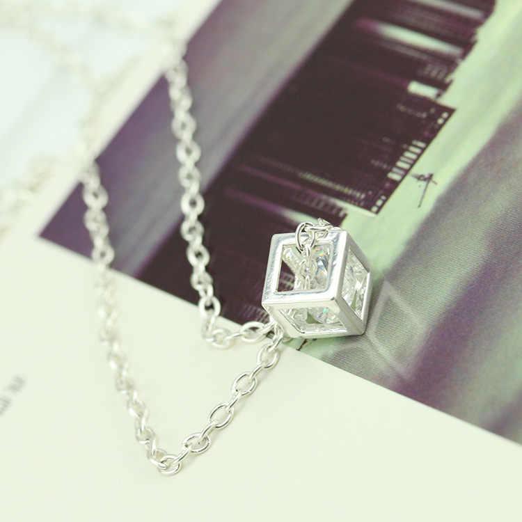 Серебряный циркон ожерелья для мужчин кристалл квадрат кулон колье для женщин горный хрусталь Шарм женский модные украшения аксессуар