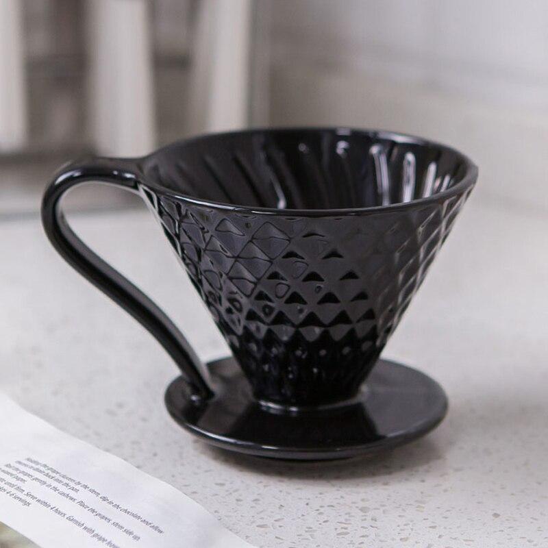 Filtres à café en céramique V60 café filtre goutte à goutte tasse diamant forme permanente verser sur la cafetière avec support séparé