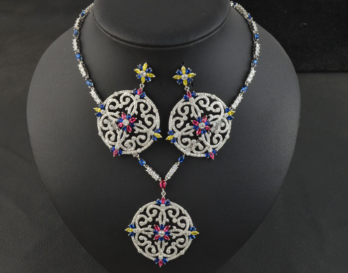 Cubic Zirconia Necklace Earring Jewelry Set for Women