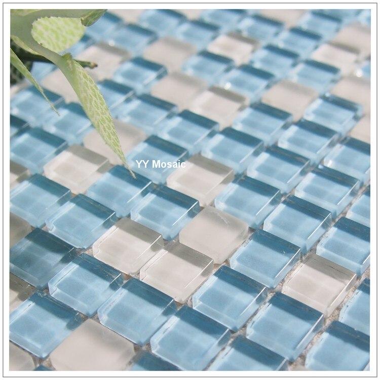 183 96 Mediterraneen Bleu Blanc Verre Mosaique Mur Carrelage Yy 75 Cuisine Dosseret Tv Fond Puzzle Salle De Bains Douche Salon Cheminee In Fonds