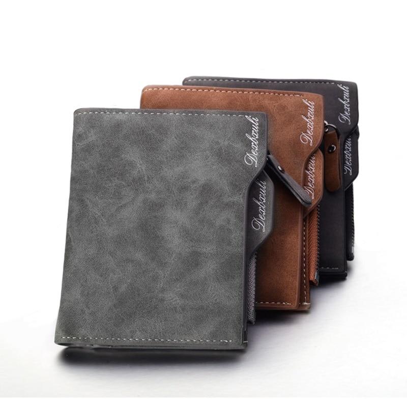 New Short Wallet Men Soft Leather wallet with removable card slots multifunction man Zipper Wallet purse male clutch wallet