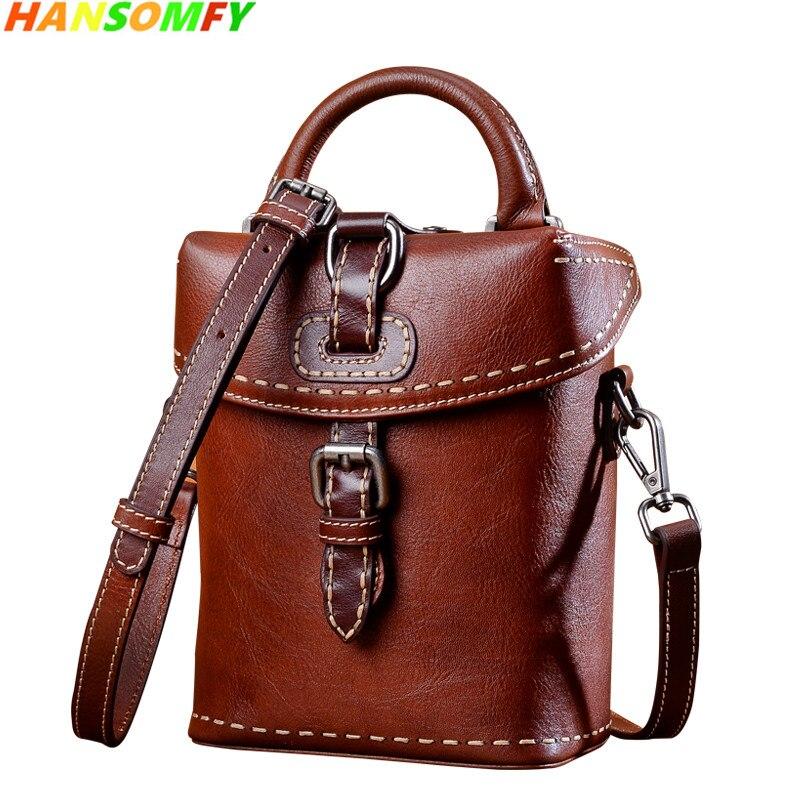 2018 New Genuine Leather Women small bag female retro handmade handbag mini wild fashion shoulder Messenger Brown leather Bags