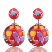2016 New Ganda Mosaics Graffiti Big Ball Earrings Double Sides Pearl Earrings Ear Stud For Women Beads Jewelry Christmas Gift цена в Москве и Питере