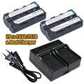2 unids 3000 mAh NP-F550 NP-F530 NP-F570 NP F550 F570 baterías + cargador doble para Sony CCD-SC55 CCD-TRV81 DCR-TRV210 MVC-FD81