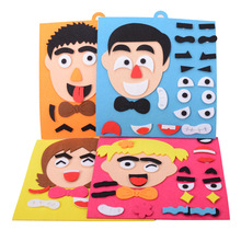 Facial Expressions DIY Felt Fabric Handmade Stickers Toy of Childrens Puzzle Teaching Aids Craft Gift For Kids