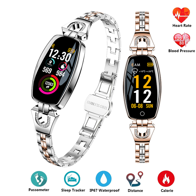 Luxury Women Smart Wristband Heart Rate Monitor Blood Pressure Bracelet Fitness Tracker IP67 Waterproof Band Best Gift for Girl