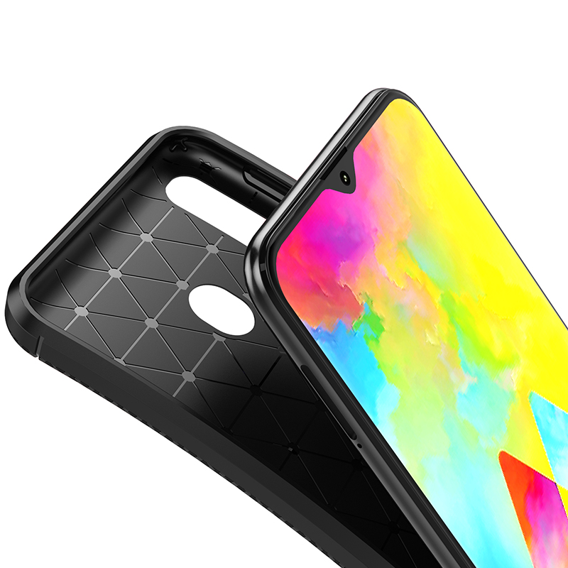 1Pcs Luxury Mobile Phone Cases for Samsung Galaxy M20 Silicone Drop Protection Gel carbon fiber Soft Shell in Half wrapped Cases from Cellphones Telecommunications