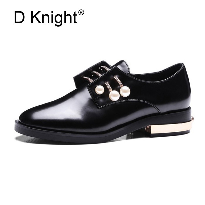 Fashion Round Toe Rhinestone Pearl Buckle Decoration Women Flats England Style Ladies Casual Flat Oxford Shoes