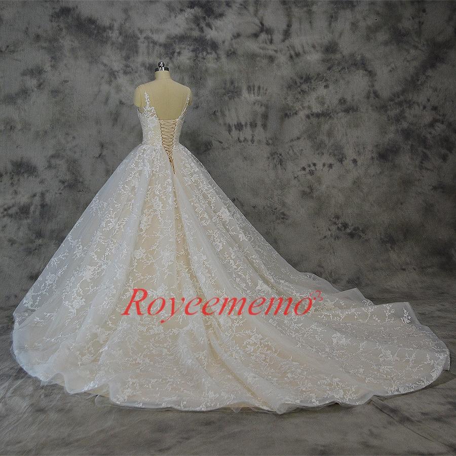 Vestido de Noiva nieuwe kant baljurk trouwjurk luxe champagne en - Trouwjurken - Foto 5