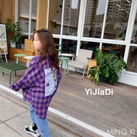 2019 spring new children's clothing blouse boy and girl plaid shirt behind the print neutral shirt
