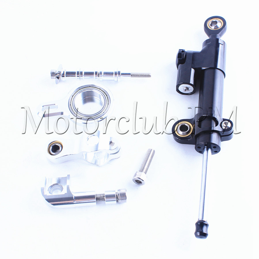For Yamaha YZF R1 Steering Damper Stabilizer With Mounting Bracket Kit YZF-R1 1999-2005 Silver Motorcycle Accessories New for ktm 200 duke 2013 2014 390 duke 2014 2015 2016 motorcycle accessories steering damper stabilizer with mounting bracket kit