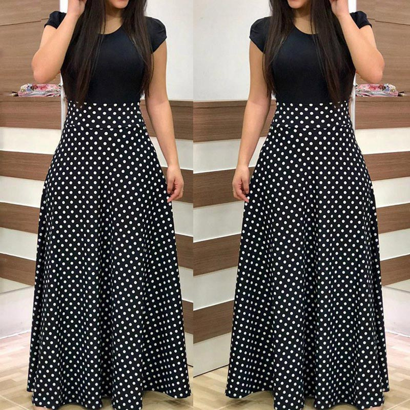 2019 New Arrival Women Fashion Summer Black Elegant Casual Party Dress Short Sleeve Polka Dots Print Patchwork Maxi Dress
