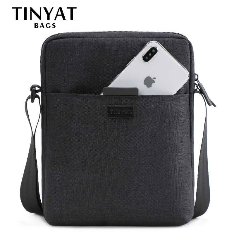 TINYAT Light Canvas Men's Shoulder Bag For 7.9' Ipad Casual Crossbody Bag Waterproof Business Shoulder bag for men 0.13kg
