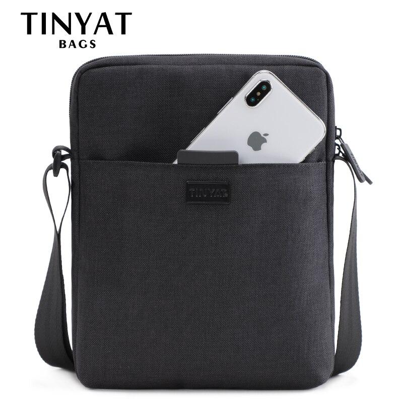 TINYAT светлые холщовые мужские сумки на плечо для 7,9 'Ipad Повседневная сумка через плечо водонепроницаемая сумка-мессенджер Пакет Слинг Сумка для мужчин 0,13 кг