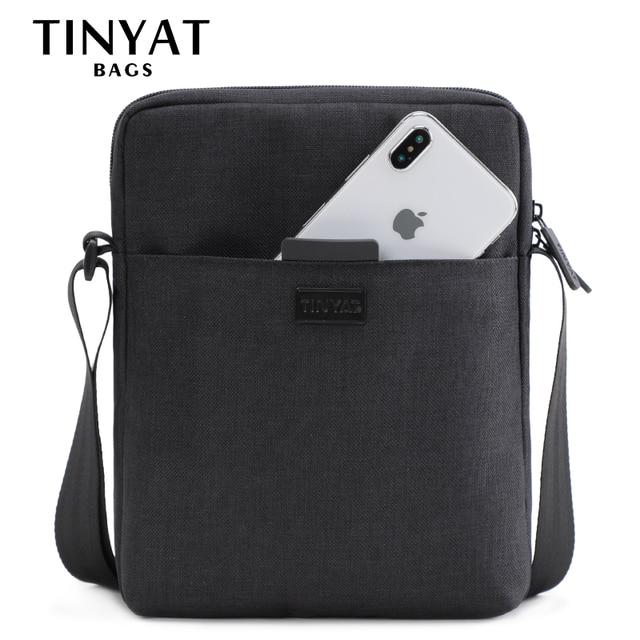 TINYAT Light Canvas Men's Shoulder Bag For 7.9' Ipad Casual Crossbody Bag Waterproof Messenger Bag Pack sling bag for men 0.13kg