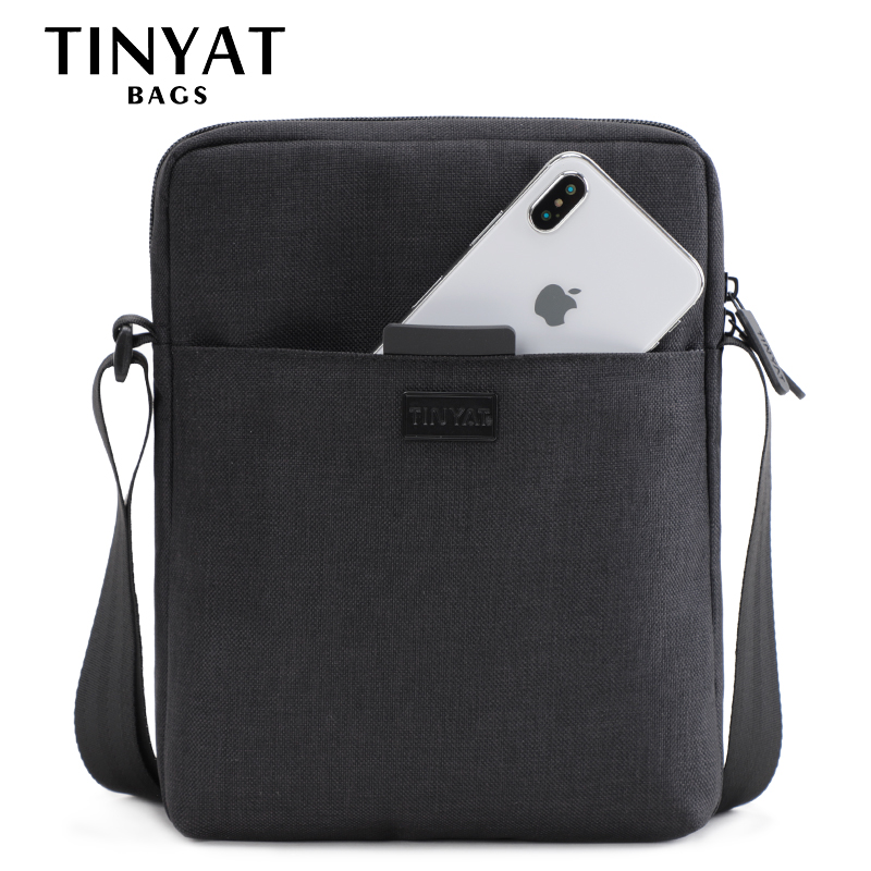 TINYAT Men's Bag Light Canvas Shoulder Bag For 7.9' Ipad Casual Crossbody Bag Waterproof Business Shoulder bag for men 0.13kg