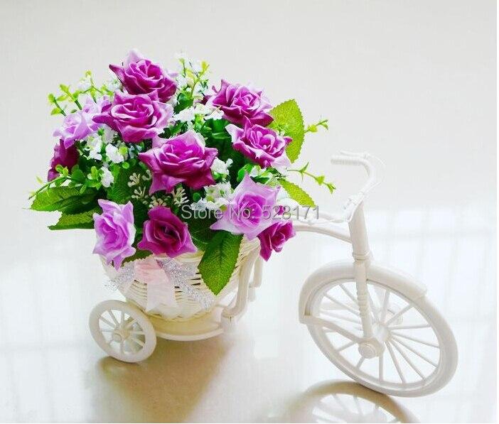 free shipping wedding decoration flower vase artificial silk korean rose flower chinese rattan tricycle vase for - Flower Vase