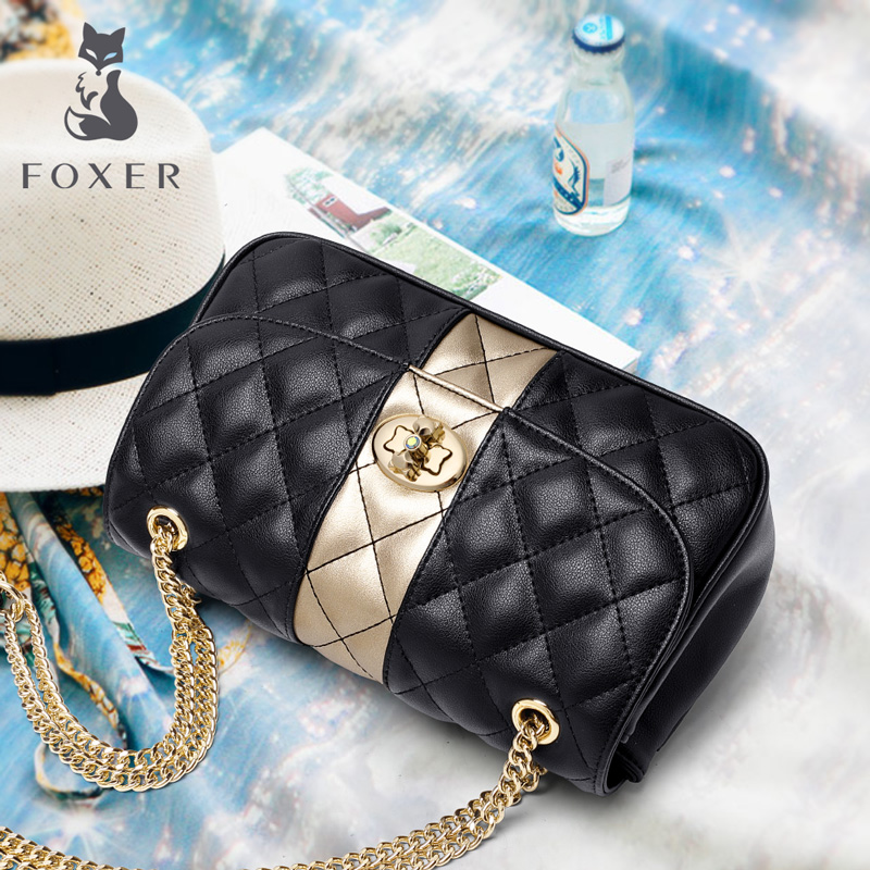 Image 2 - FOXER Women Chain Strap Messenger Bag Diamond Lattice Flap Lady High Quality Leather Ladies' Shoulder Bags Valentine's Day Gift-in Shoulder Bags from Luggage & Bags