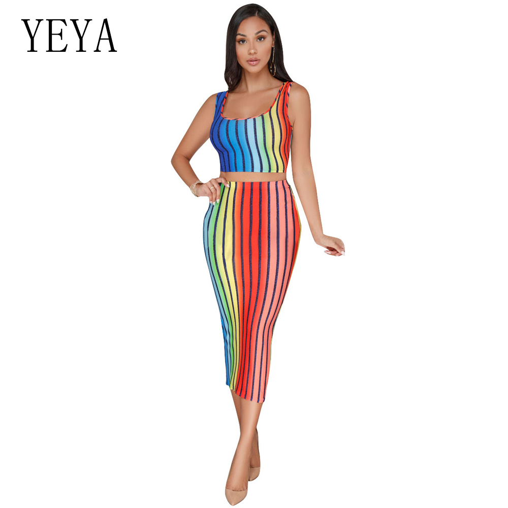 YEYA Sexy Rainbow Striped Bandage Dress Women Two Piece Dresses Summer Casual Sleeveless Bodycon Party Women Dress Robe Vestidos