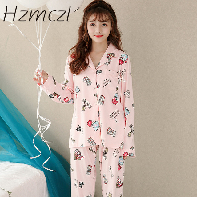 Hzmczl 2018 New Spring women cotton pajama sets high printing quality  European and American style brief pyjamasfor ladies 81ebeb913