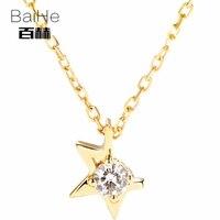 מוצק 14 K זהב צהוב BAIHE 0.07ct Certified H/SI 100% יהלומים טבעיים Genuine נשים תכשיטים טרנדי אלגנטי מתנות שרשראות