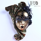 H&D Full Face Venetian Jester Mask Masquerade with Flower Mardi Gras Wall Decorative Art Collection