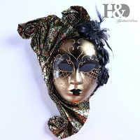H & D Viso Veneziana Jester Maschera di Travestimento con Il Fiore Mardi Gras Decorativa Della Parete Della Collezione D'arte