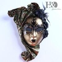 Máscara jester venetiana feita em rosto inteiro  com flores mardi gras  decoração de parede  coleção de artes